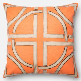 Printed Geometric Orange/ Beige Down Feather or Polyester Filled 18-inch Throw Pillow or Pillow Cover