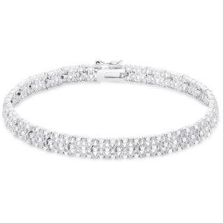 Finesque Sterling Silver 1ct TDW Diamond Lattice Design Bracelet (I-J, I2-I3)