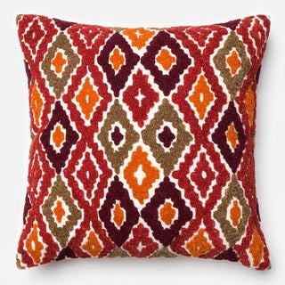 Embroidered Abstract Diamond Red/ Orange Down Feather or Polyester Filled 18-inch Throw Pillow or Pillow Cover