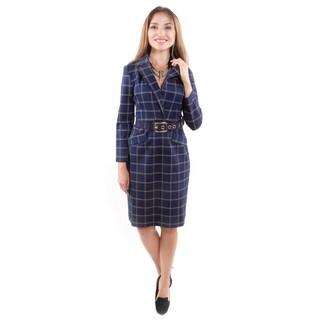 Hadari Women's Belted Plaid Dress W/ Collar