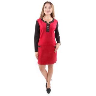 Hadari Women's Stretchy Suede Dress W/ Studs