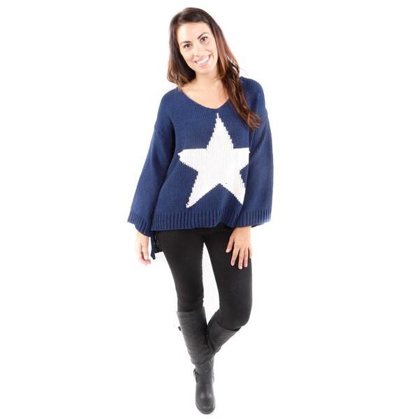 Hadari Women's Navy Star Sweater