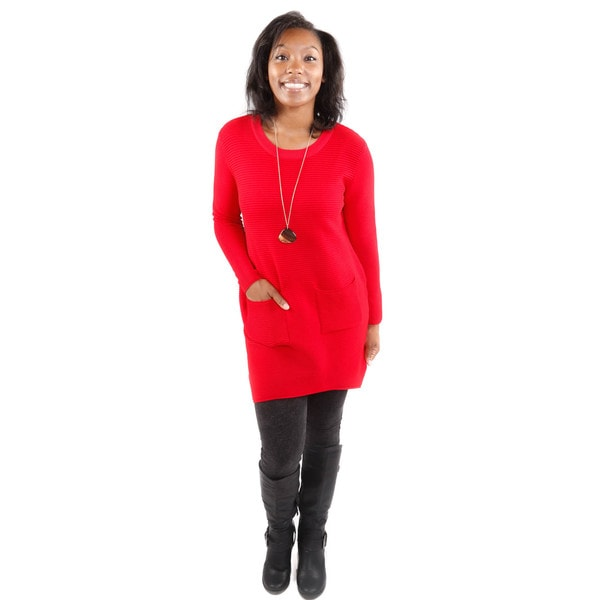 Hadari Women's Red Double Pocket Tunic Sweater