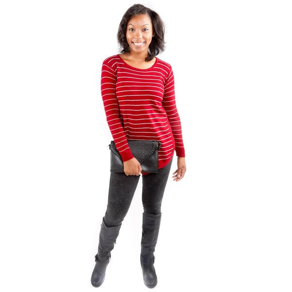 Hadari Women's Horizontal Stripe Red Tunic Sweater