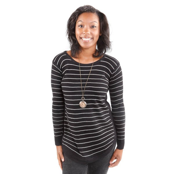 Hadari Women's Horizontal Stripe Black Tunic Sweater