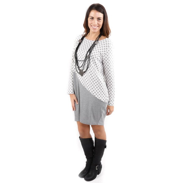 Hadari Women's Grey Design Block Long Sleeve Tunic