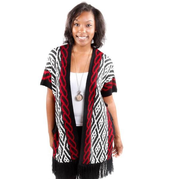 Hadari Women's Vertical Pattern Cardigan Sweater