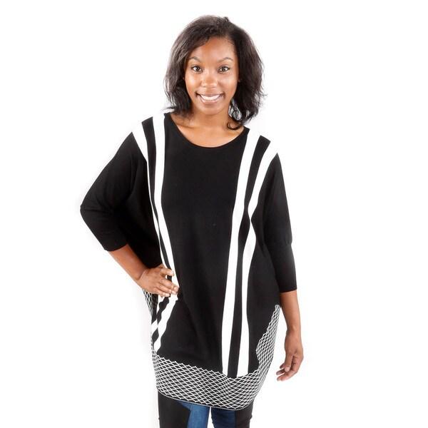 Hadari Women's Black Pattern Poncho