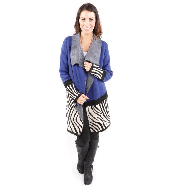 Hadari Women's Zebra Print Color Block Cardigan Sweater