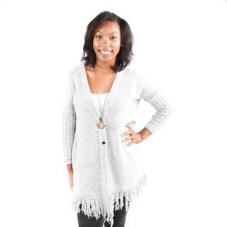 Hadari Women's Gray Fringe Button Front Cardigan Sweater
