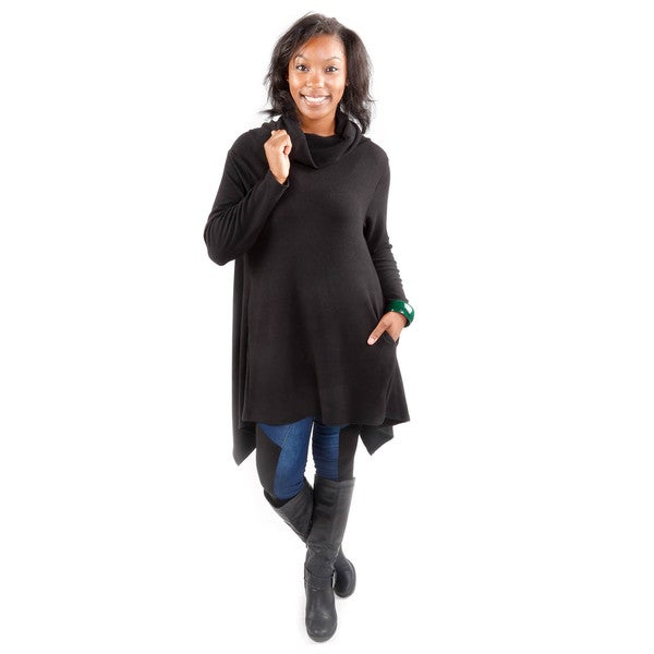 Hadari Women's Soft Black Bias Cut Sweater