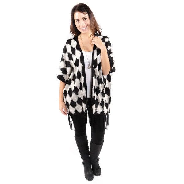 Hadari Women's Black Diamond Pattern Cardigan