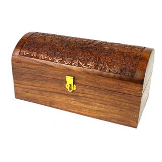 Global Crafts Handcrafted Carved Wood Chest (India)