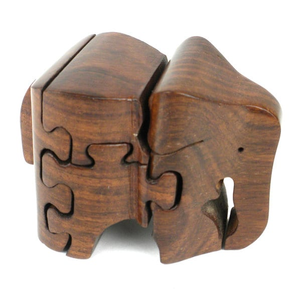 Handcrafted Wooden Elephant Puzzle (India)