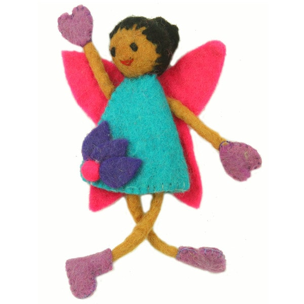 Hand Felted Tooth Fairy - Black Hair with Blue Dress - Global Groove