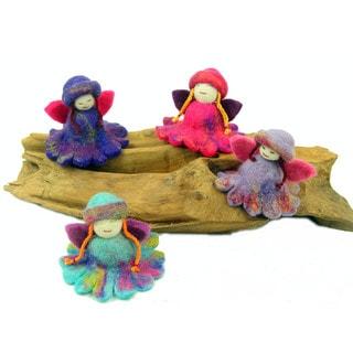 Handmade Colorful Flower Fairies - Set of 4 - Global Groove (Nepal) - Brown