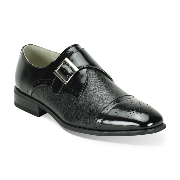 Giorgio Venturi Black Two-Tone Single Monkstrap Dress Shoes