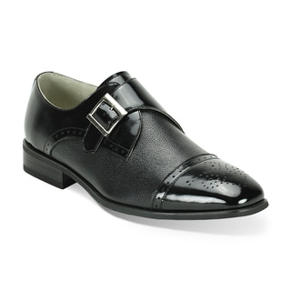 Giorgio Venturi Black Two-Tone Single Monkstrap Dress Shoes