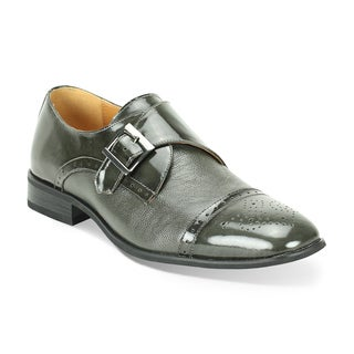 Giorgio Venturi Men's Grey Two-Tone Single Monk Strap Dress Shoes