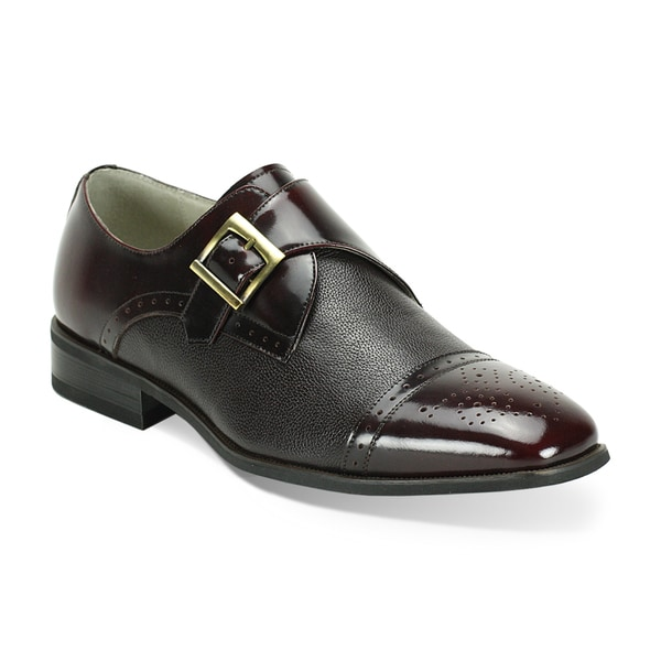 Giorgio Venturi Men's Brown/ Grey Two-Tone Single Monk Strap Dress Shoes
