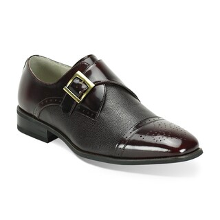 Giorgio Venturi Men's Brown/ Grey Two-Tone Single Monk Strap Dress Shoes