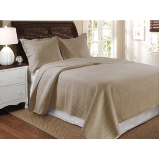 Vashon Taupe Oversized Cotton Quilt Set
