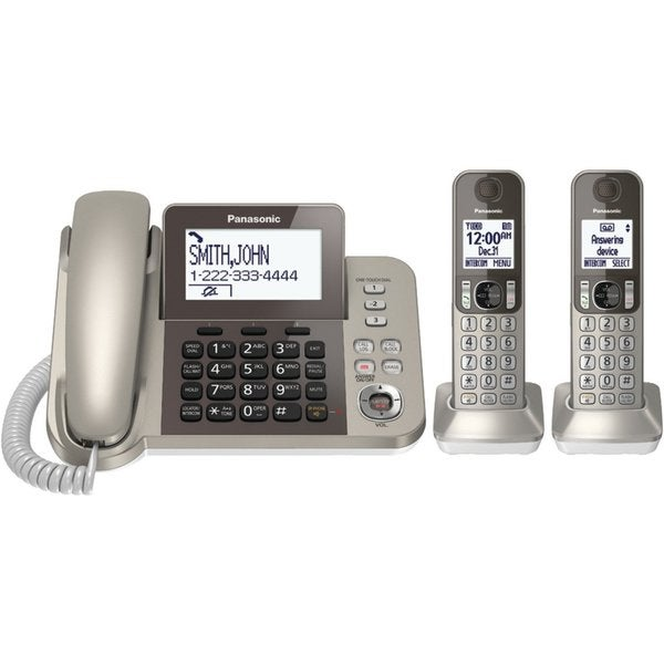 Panasonic KX-TGF352N Champagne Silver DECT 6.0 Plus Corded/ Cordless Landline Phone System (Refurbished)