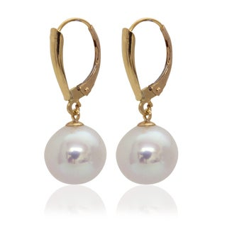 Pearlyta 14k Yellow Gold Round Freshwater Pearl Leverback Earrings (9-10mm)