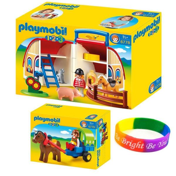 Playmobil KTPM123FM 1-2-3 Take Along Barn and Pony Wagon Farm Set with Dimple Bracelet