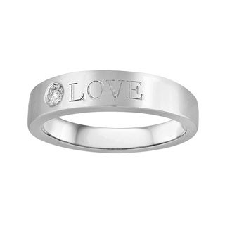 """Sterling Silver 1/10ct TDW Diamond 'Love"""" Engraved Ring"""