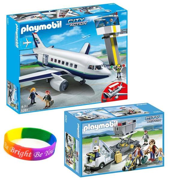 Playmobil KTPMAP2 Passenger Aircraft and Aircraft Stairs Set with Passengers and Cargo