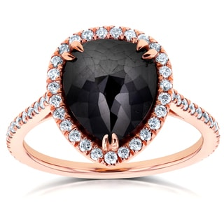 Annello 14k Rose Gold 4 3/4ct TDW Pear Shape Black Diamond Halo Ring (G-H, I1-I2)