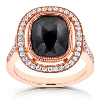 Annello 14k Rose Gold 4 3/5ct TDW Cushion Black Diamond and Floating Halo Double Milgrain Ring (G-H, I1-I2)