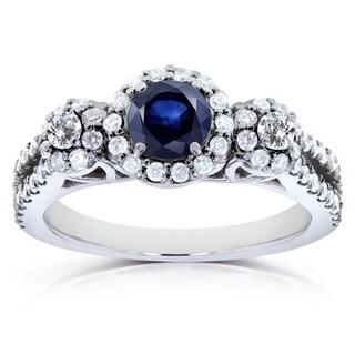 Annello 14k White Gold Blue Sapphire and 3/5ct TDW Diamond Three Stone Ring (H-I, I1-I2)