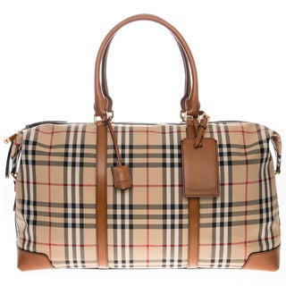Burberry Horseferry Check and Leather Holdall Duffle Bag