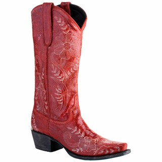 Lane Boots Women's 'Ashlee Lace' Red Leather Cowboy Boots with Floral Stitching