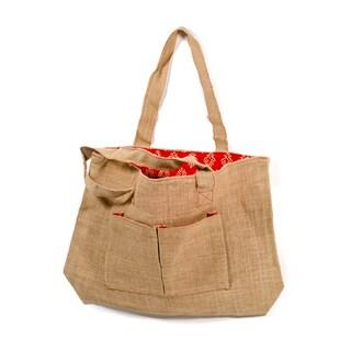 Jute Tote Bag Red Batik (India)