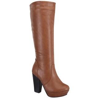 Beston CA75 Women's Platform Chunky Stacked Heel Knee High Boots