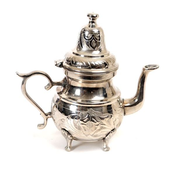 Handmade Silver-plated Teapot Brass Tea Kettle (Tunisia) 16622046
