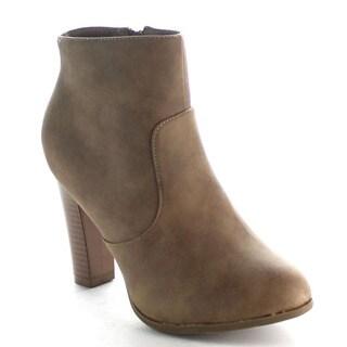 Beston Women's Classical Stacked Heel Ankle Booties