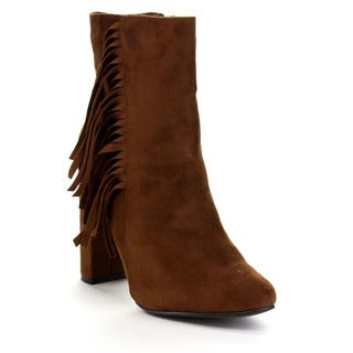 Breckelle's Women's 'Lisa-12' Elegant Fringe Chunky Heel High-Top Booties