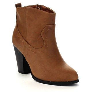 Beston Women's Western Style Chunky Heel Booties