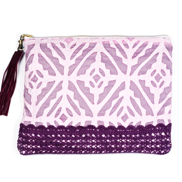 Lilac Appliqu Pouch (India)