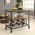 Furniture of America Daimon Industrial Medium Oak Serving Cart