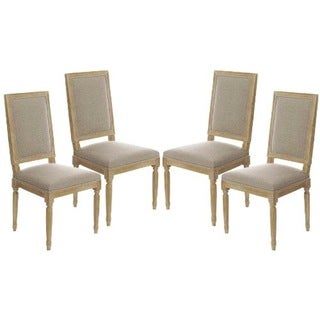 Vintage French Square Upholstered Side Dining Chairs Set of 4