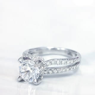 Lihara and Co. 18k White Gold Cubic Zirconia and 1/2ct TDW Diamond Engagement Ring (G-H, VS1-VS2)