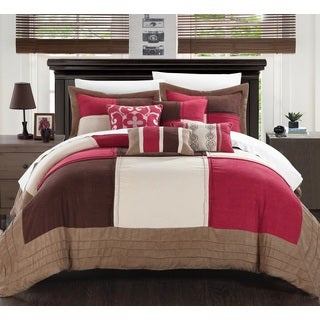 Chic Home Luciano 11-Piece Burgundy Microsuede Patchwork Comforter Bed in a Bag