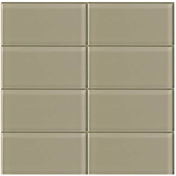 Lush Driftwood Grey Brown Glass Subway Tile 3x6