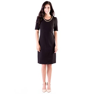 DownEast Basics Women's Little Black Knit Dress with Gold Chain Detail