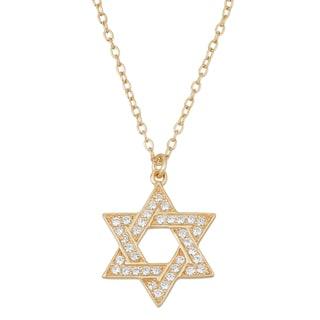 La Preciosa Sterling Silver Goldplated Cubic Zirconia Star of David Necklace